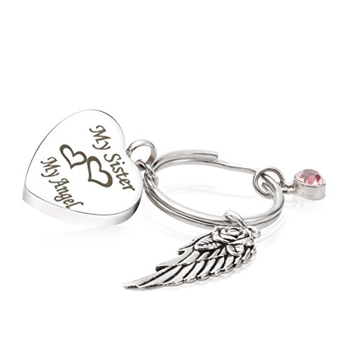 Cremation Urn Jewelry for Ash My Sister My Angel Wing Charm Birthstone Tourmaline Keychain Memorial Keepsake ()