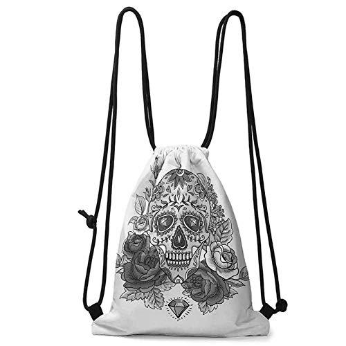 Travel Drawstring bag Sugar Skull,Monochrome Skull with Roses Leaves and Diamond Shape Folklore Festival Print,Grey White W13.8 x L17 Inch Practical Unise