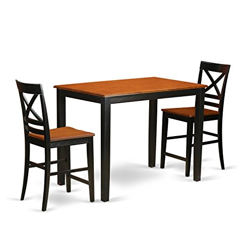 East West Furniture YAQU3-BLK-W 3 Piece High Table and 2 Counter Height Dining Chair Set (Height Rectangle Counter Table)