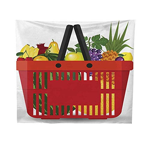 Leighhome Wall Hanging tapestrymandala Wall tapestrySupermarket Basket Full of Fresh Fruits Food Shopping Basket with Natural and Organic Food Vector Set Supermarket Basket 54W x 72L INCH ()