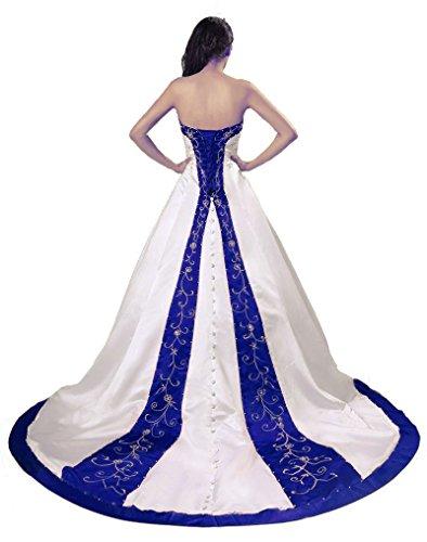 Vantexi Women's Sweetheart Satin A-line Bride Wedding Dress Ivory Blue 4