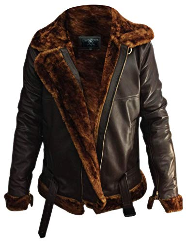 So-Shway Mens Bomber Shearling Flying Leather Jacket - Men Brown RAF Aviator Jackets (XX-Large - (for Body Chest 44-48))