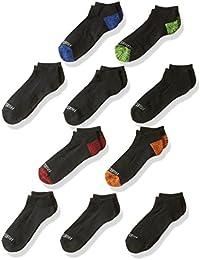 Boys' Big 10 Pair Half Cushion No Show Socks, black assort, Large (Shoe Size: 3-9)