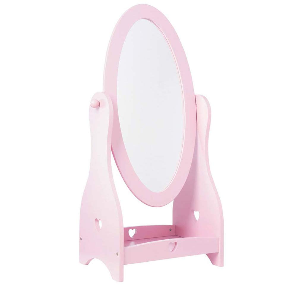 Wonder Space Princess Dressing Floor Mirror, Solid Wood Frame, Cute Princess Decor for Bedroom, Free Standing Home Floor Full Length Mirror for Children (Pink)