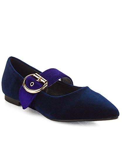 Cape Robbin Moda Para Mujer De Terciopelo Plisado Puntiaguda Mary Jane Flat Royal Blue