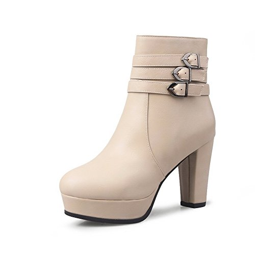 Women's Pull On High Heels Fabric Surface Solid Round Closed Toe Boots Beige 36