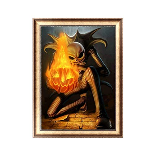 Lvyuanda Halloween Fire DIY 5D Diamond Painting, Crystal Rhinestone Embroidery Pictures Arts Craft for Home Wall Decor