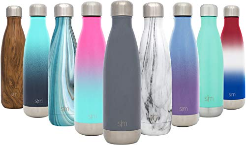 - Simple Modern 17 oz Wave Water Bottle - Stainless Steel Double Wall Vacuum Insulated Reusable Leakproof Thermos -Slate