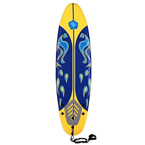 Giantex 6' Surfboard Surf Foamie Boards Surfing Beach Ocean Body Boarding Red (Yellow & Blue)