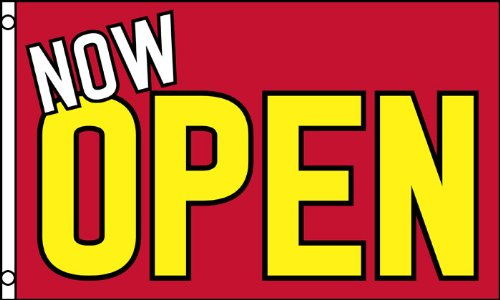 NOW OPEN FLAG, 3'x5' business sign banner