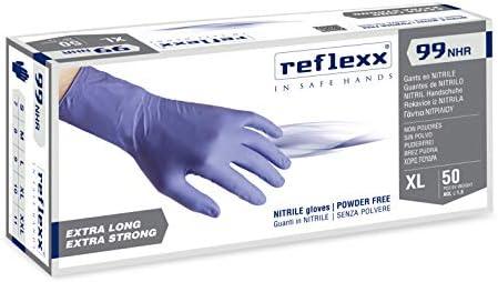 Reflexx R99//XLhirisk La alta resistencia sin polvo guantes de nitrilo Gr 8,9 talla XL color azul Pack de 50