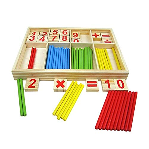 - XINGHUA Montessori Mathematical Intelligence Stick Preschool Educational Toys-Wooden Number Cards Counting Rods Box