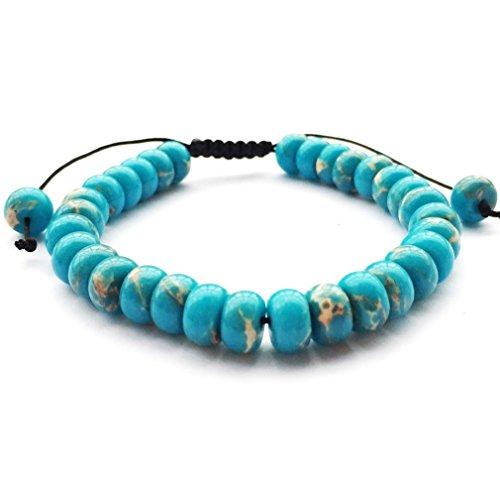DOLON 85mm Blue Imperial Jasper Abacus Beads Shamballa Bracelet - Abacus Jasper