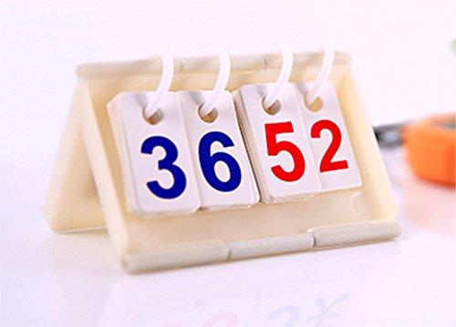 Duplay Plastic-Base Multi-function Mini Scoreboard (Medium Size) - Portable Scorebook Flip Scorecard Tabletop Compact Flipper Scorekeeper Score Card Digital Calendar Day Countdown Body Weight Counter