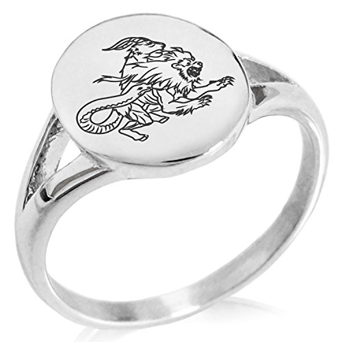 Tioneer Stainless Steel Greek Mythology Chimera Symbol Minimalist Oval Top Polished Statement Ring, Size 9 by Tioneer (Image #1)