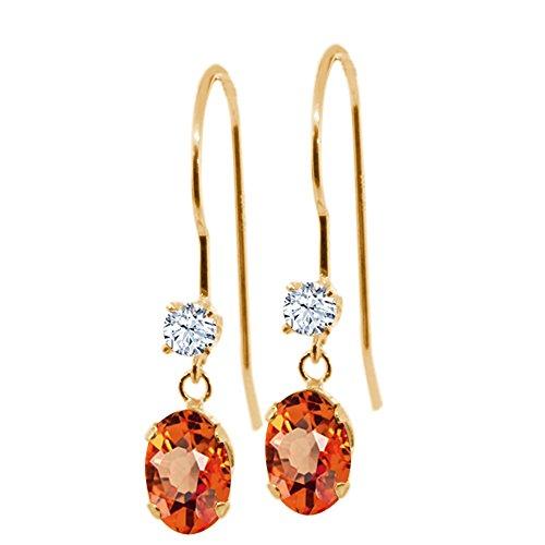 Gem Stone King 1.20 Ct Oval Orange Sapphire 14K Yellow Gold Earrings