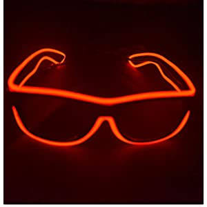 Agile-Shop FashionableGlow Eye Glasses with Voice Control Light Up El Wire Led Flashing Glasses for Halloween Christmas Birthday Party Favor (Red)