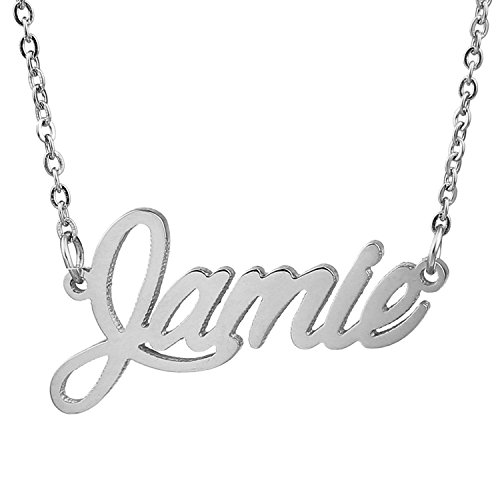 HUAN XUN Stainless Steel Name Monogram Necklace Best Friend Jewelry, Jamie]()