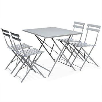 Salon de Jardin bistrot Pliable - Emilia rectangulaire Gris Taupe 110x70cm  avec Quatre chaises Pliantes, Acier thermolaqué