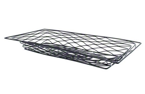 - American Metalcraft BNBB32 Rectangular Birdnest Wire Basket, Medium, Black