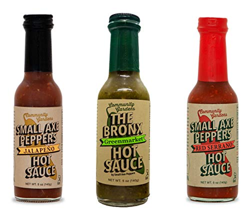 (Small Axe Peppers Mild Hot Sauce Set, (3) 5 oz- All Natural, non-GMO, Community Garden Grown! Jalapeño, Red Serrano Pepper & The Bronx Greenmarket Serrano Pepper Gourmet Hot Sauce, Featured on HOT ON)