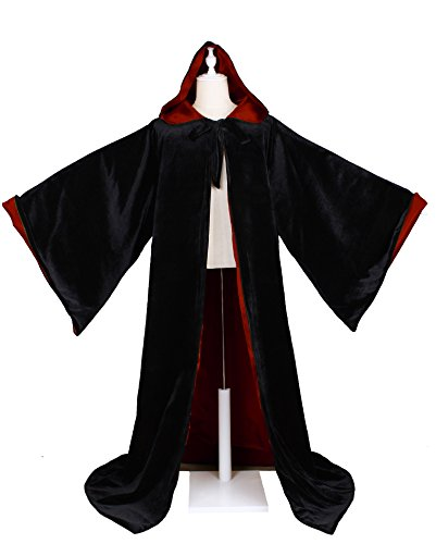 LuckyMjmy Velvet Wizard Robe with Satin Lined Hood and Sleeves (Black-Wine Red)
