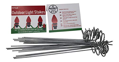 Nickanny's Lawn Stakes for Christmas Yard Lights-Heavy Duty Galvanized Steel Wire 10