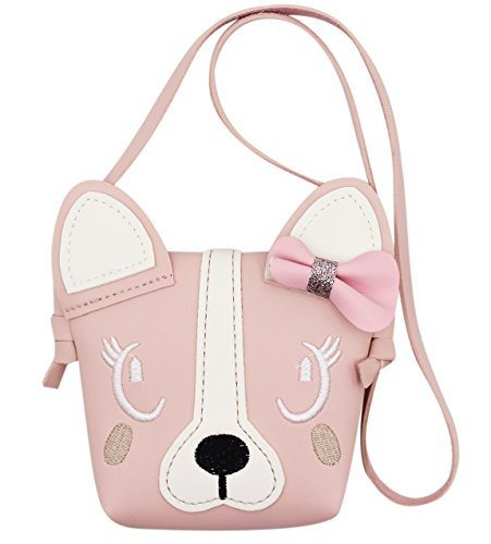 Kids Cute Dog Small Crossbody Bag Bowknot Single Shoulder Bag Handbag Wallet ()