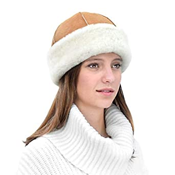 d85f61bf Woman Fur Winter Hats in Genuine Shearling Sheepskin Leather Beanie ...