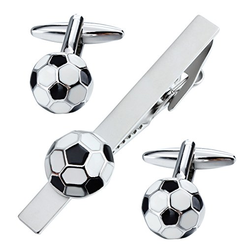 HAWSON Novelty Football Cuff Links and Tie Clip Set for Men - Gifts for Wedding Level,Football, Musical Symbols Designs -