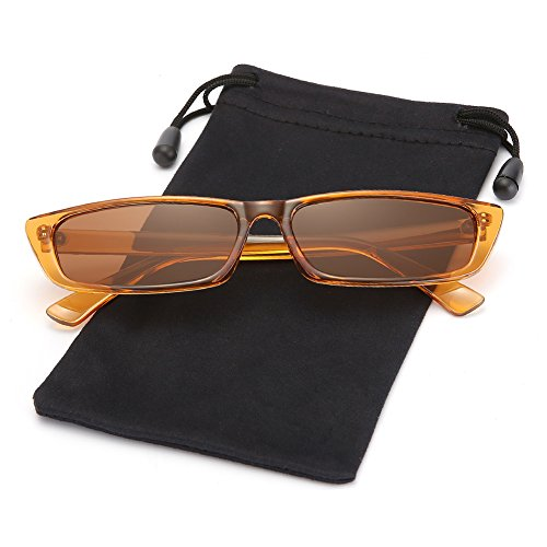 Vintage Slim Rectangular Sunglasses Steampunk Shades for Women and Men LOOKEYE, Brown Frame and Brown Lens