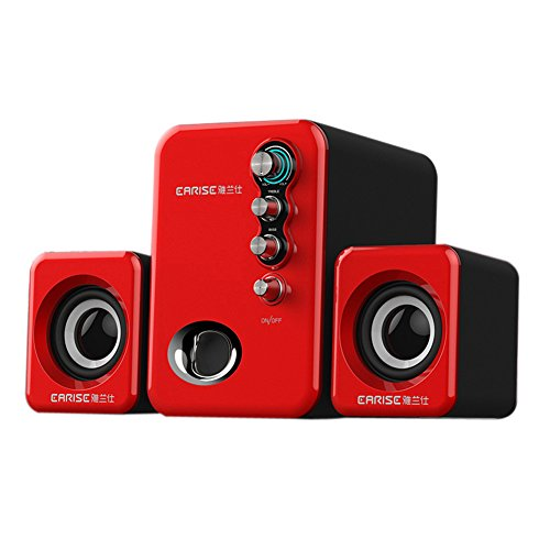 EARISE Q8 USB Powered 2.1 Stereo Computer Speakers with Subwoofer Red (Compute Speaker)