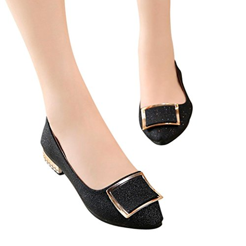 Odejoy 40 shoes Basse Buckle Tacco Donna Shallow Scarpe Basso Donna Basse,Paillettes Square da e Piatta Paillettes a Punta Scarpe On Punta con Scarpe con Singola 35 Nero a Slip Cuciture rr8wXq