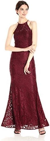 Betsy /& Adam Women/'s Glitter Lace Halter Gown