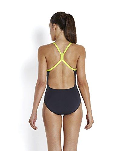 Speedo Women 's tempoflo Placement Digital Rippleback–Bañador de natación Gris - Oxid Grey/Lime Punch/Diva
