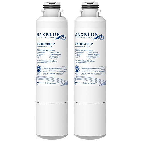 Maxblue NSF 53&42 Certified DA29-00020B Refrigerator Water Filter, Replacement for Samsung HAF-CIN/EXP, DA29-00020A/B, DA97-08006A, RF28HMEDBSR, RF4287HARS, RF263TEAESG, RH22H9010SR, Pack of 2
