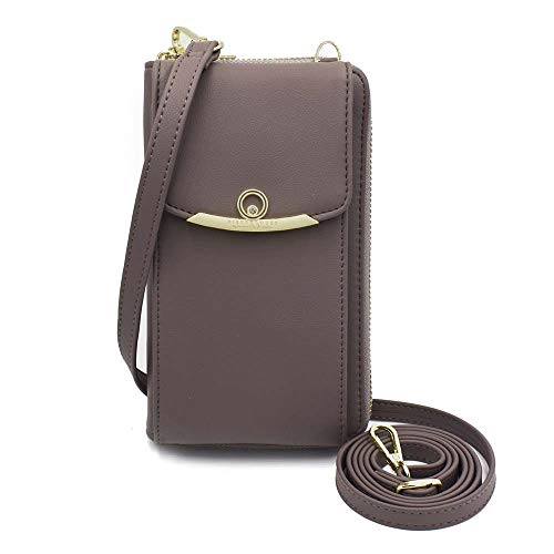 Cyber Deals Monday Sales Womens Purse Leather Cellphone Holster Wallet Case Small Crossbody Shoulder Phone Bag Pouch Handbag Clutch for iPhone 11 Pro 8 7/6 Plus Xs Max X Xr Samsung S10+ (Z-Gray)