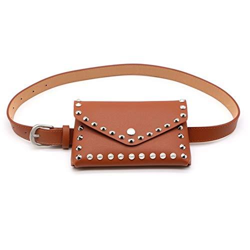 A cintura regolabile Borse Marsupio Snap borsa da donna Din in Fanny rivetto Pu Sacchetto Brwon con Bumbag Phone viaggio da pelle Cell punta f6y7Ybg