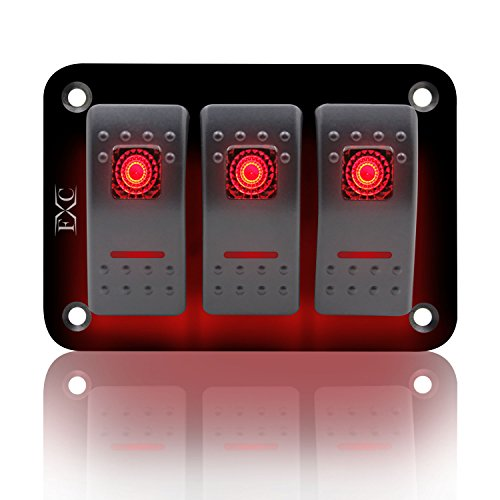 - FXC Rocker Switch Aluminum Panel 3 Gang Toggle Switches Dash 5 Pin ON/OFF 2 LED Backlit for Boat Car Marine Red