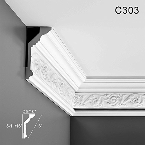 "Orac Decor Crown Moulding C303 Crown Molding, Primed White. Face: 6"" Length: 78"""