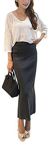 Women's Ribbed Knit Package Hip Skirt with Elastic Waist Band and Slit Dark Grey