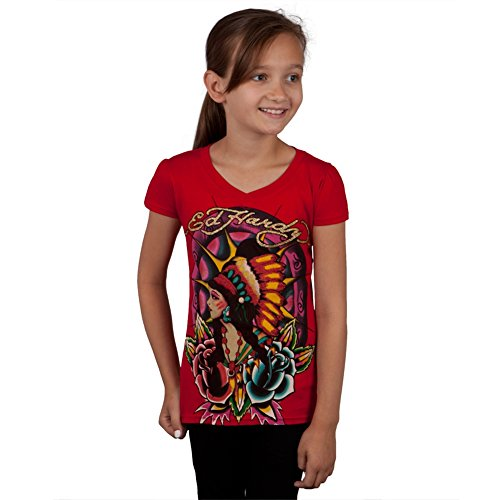 (Ed Hardy - Native American Girl & Roses Girls Youth T-Shirt - Youth Small)