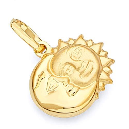 14k Yellow Gold Sun & Moon Charm Pendant