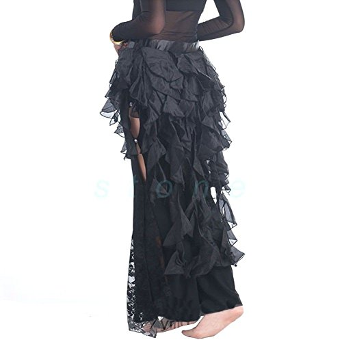 Pilot-trade Women's Belly Dance Hip Scarf Belt Skirt Latin Dance Belt Performance Tassel Wave skirt Black (Fringe Hip Belt)