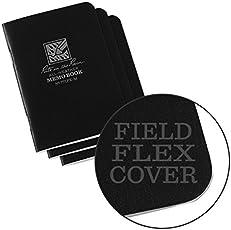 """Rite in the Rain All-Weather - Cuaderno de notas (tamaño pequeño, 3 1/4"""" x 4 5/8"""", tapa de bronceado, diseño universal, 3 unidades) 971TFX-M), Negro, 1"""