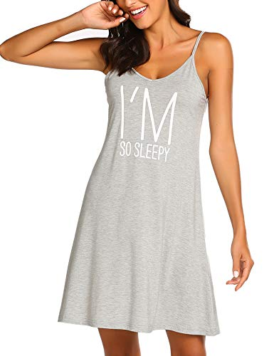 Ekouaer Pajama Sleep Cami Dress V Neck Cotton Print Nightshirt Grey - Womens Print Nightshirt