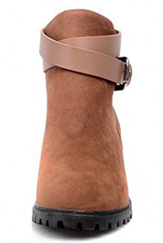 Booties Heels Martin Womens Chunky Comfy Ankle IDIFU Buckle Apricot Mid qn4vXw8w