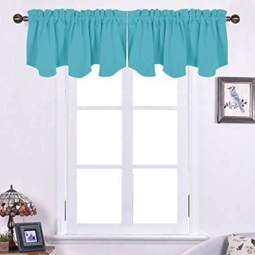Nicetown Blackout Tier 52-inch by 18-inch Scalloped Rod Pocket Valance Window Curtain, Turquoise, 1 PCS