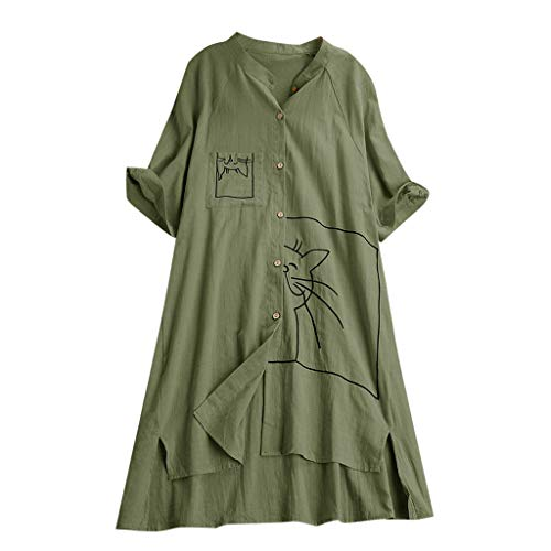 OrchidAmor Womens Button Plus Size Linen Cotton Tops Tee Shirt Hooded Pocket Loose Cute Printed Pattern Short Sleeves Blouse