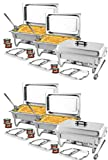 TigerChef 8 Quart Full Size Stainless Steel Chafer with Folding Frame and Cool-Touch Handles. Includes 12 Free Chafing Gels Burns 2.5 Hours and 6 Slotted Spoons(6, 8 Quart Chafer)